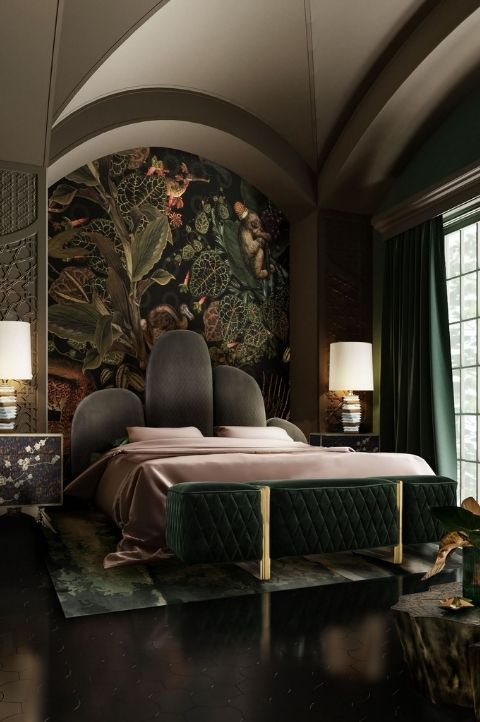 gothic maximalist bedroom, dark black walls, green queen bed, coved wall