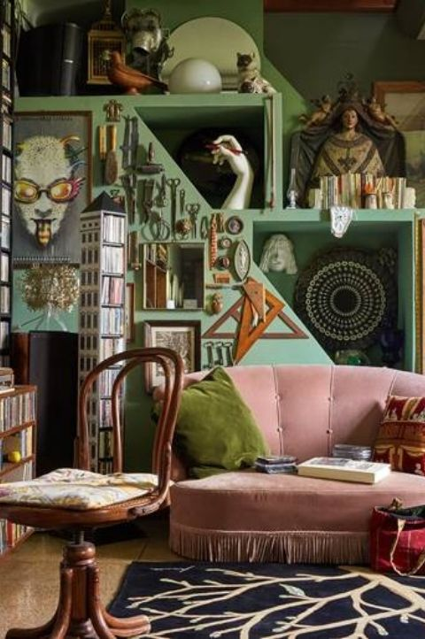 green maximalist bedroom, more is more, lots of decoration and accessories on show