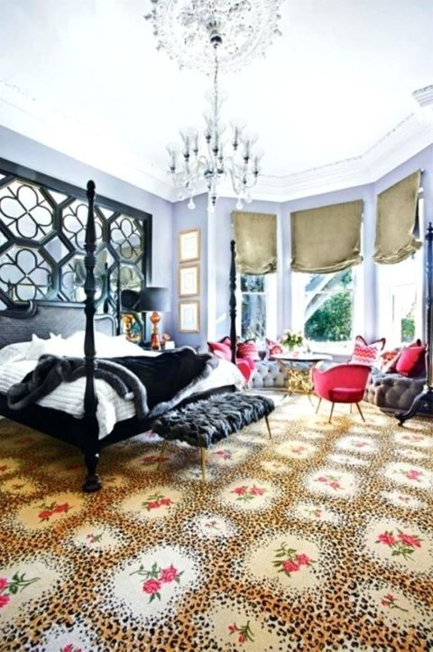 bright maximalist bedroom with large bay windows, light high ceilings