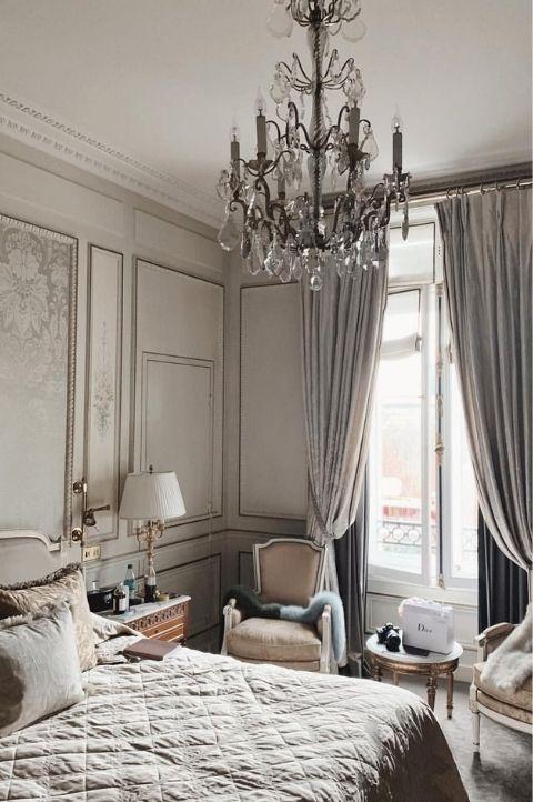 grey, vintage parisian themed bedroom