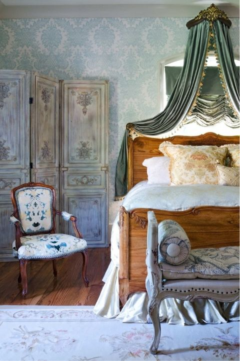 marie antoinette style bedroom, rural country french Parisian room