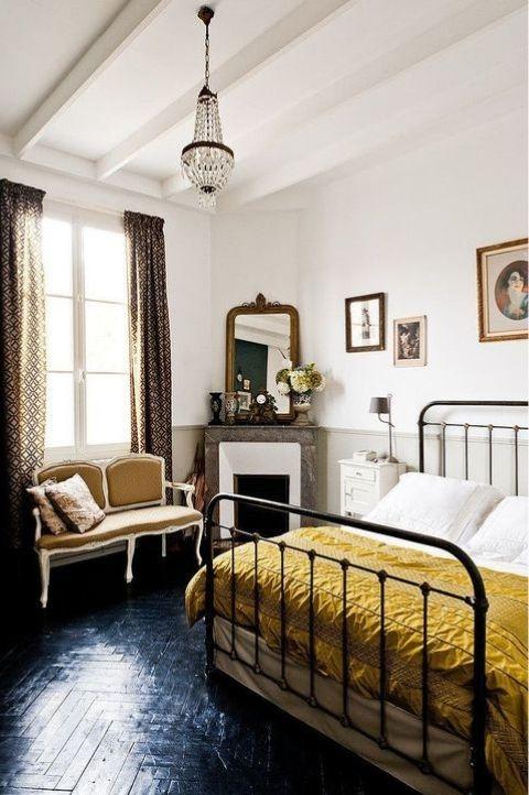 art deco styled parisian bedroom