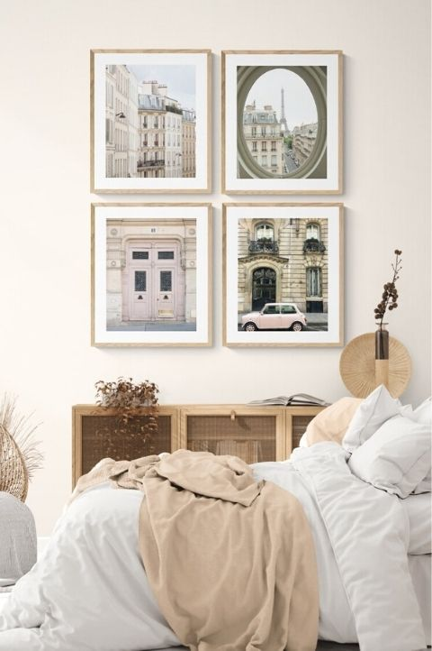 modern Paris city bedroom apartment with 4 pieces of landmark french photography