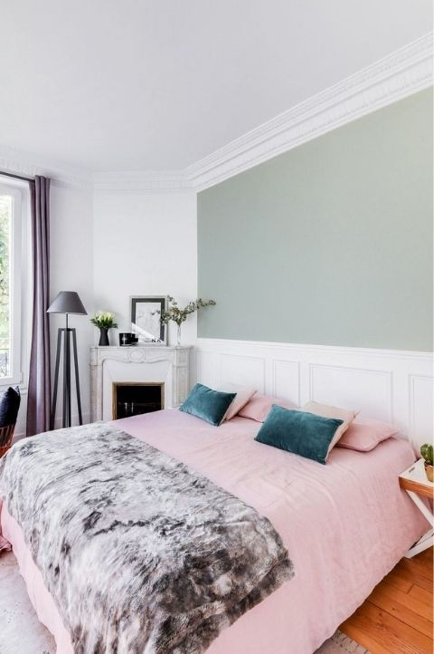pink and blue bedroom with duck egg walls