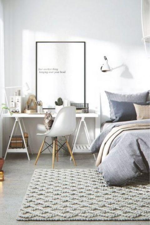Modern office style Scandinavian bedroom