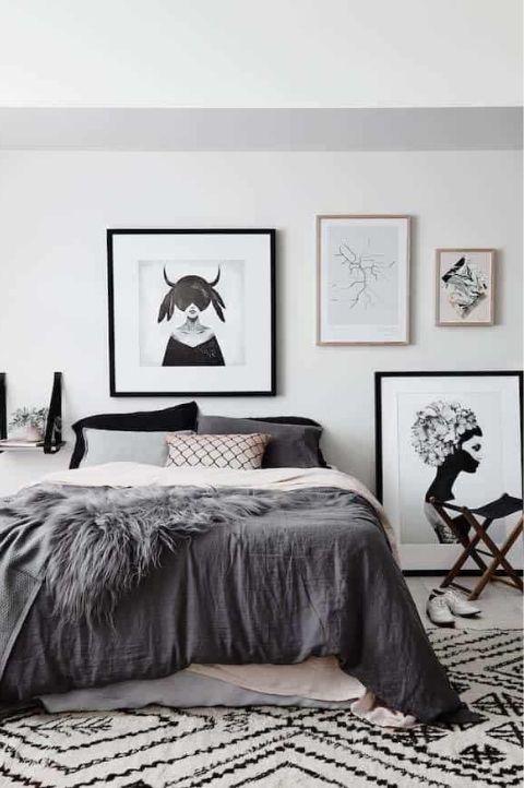 Monochromatic scandinavian bedroom