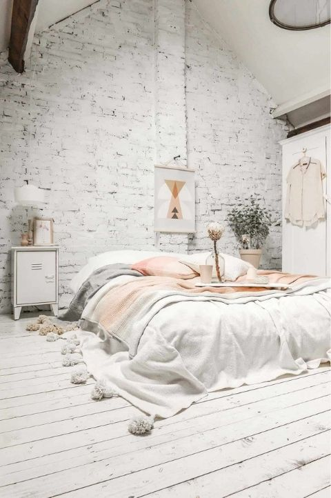 Pink and grey Scandinavian bedroom for a lovely feminine finish