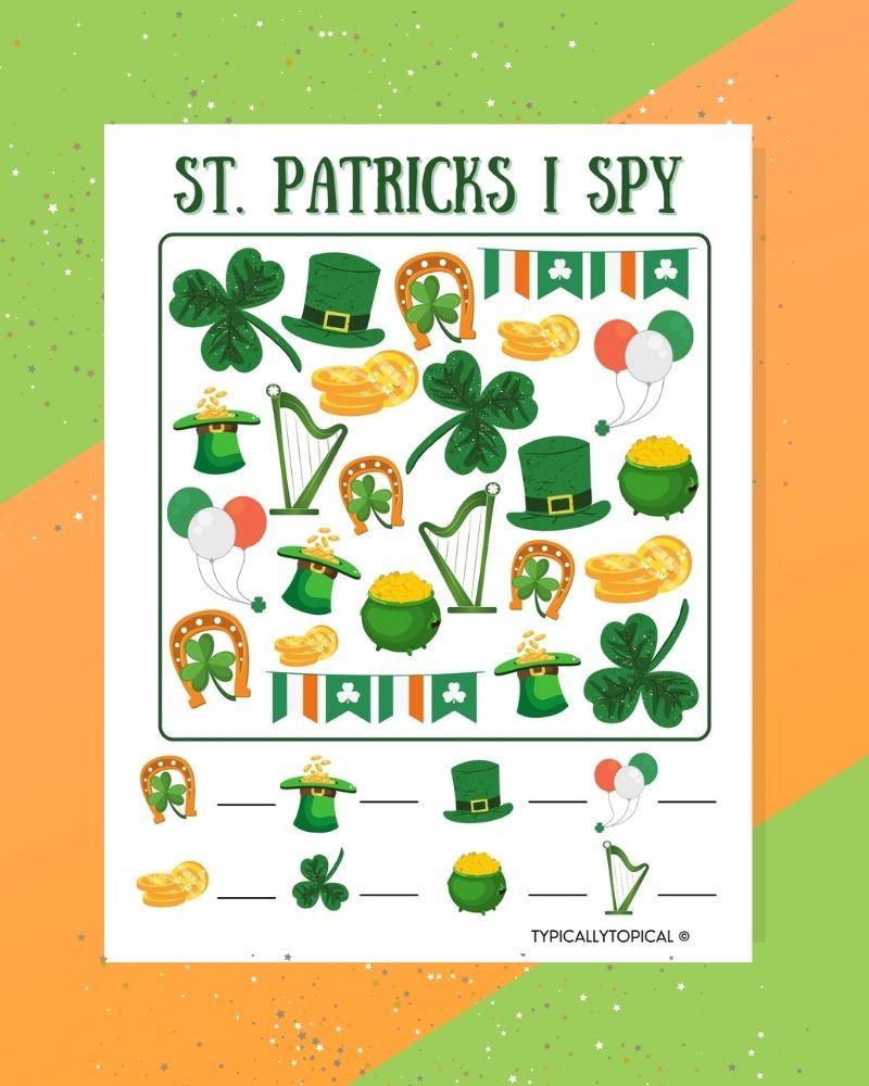 st patricks day I spy printable for kids on an irish st patricks day background
