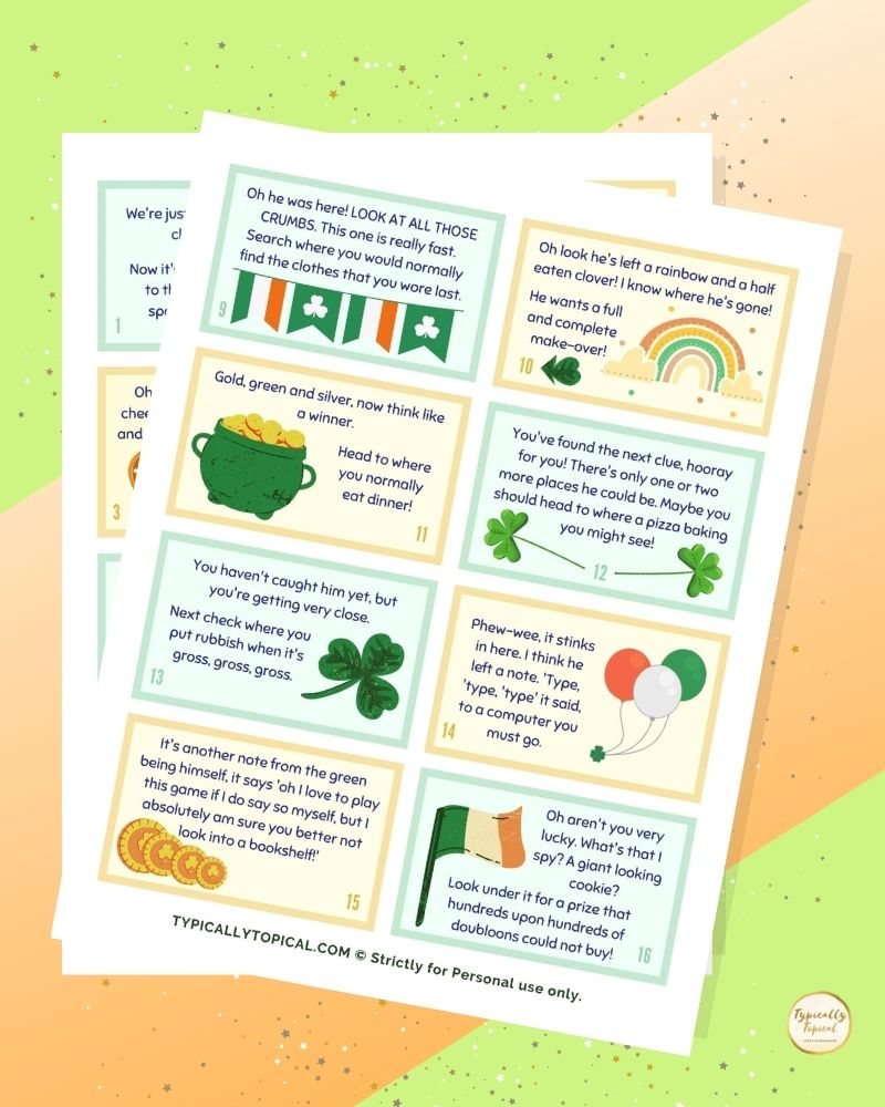 st patrick's day scavenger hunt clues with printable cards on an irish themed background