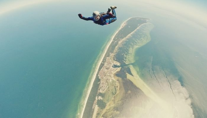 a person freefalling during a sky diving experience